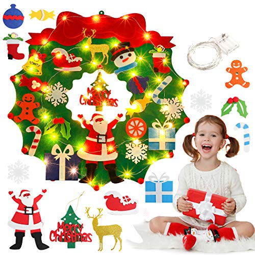 Outgeek Felt Christmas Wreath Wall Hanging Xmas Decoration DIY Christmas Garland with 19pcs Ornaments and 50 LEDs Starry String Lights for Toddler Children