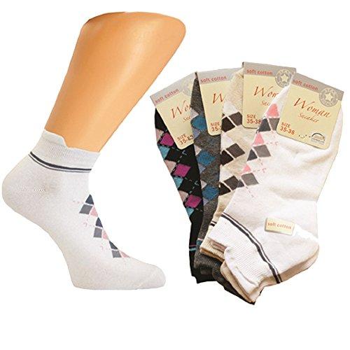 1154 Art-of-Baan Damen Sommer Sneaker Socken weiß 8 Paar Größe 35-38