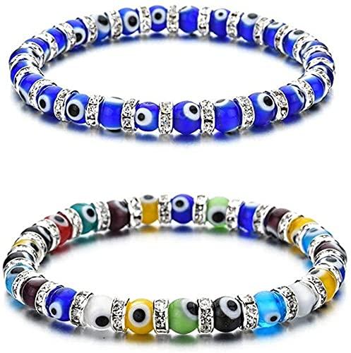 Chyang Ojo Malvado Hamsa Blue Blue Beaded Charm Pulseras para Mujer Chicas, Mano de Fátima Turco Ojo Malvado Pulsera afortunada para la protección y bendición (Color : Blue+Colorful)