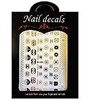 3D Luxury Design Nail Art Fancy Designer Popular Stylish Adhesive Stickers CC Black/Gold