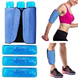 Gel Ice Packs for Injuries Reusable Leg Cold Pack Wrap Cold Therapy Compression Sleeve for Swelling, Bruises, and Sprains, Shin Splints Leg Pain Relief Support