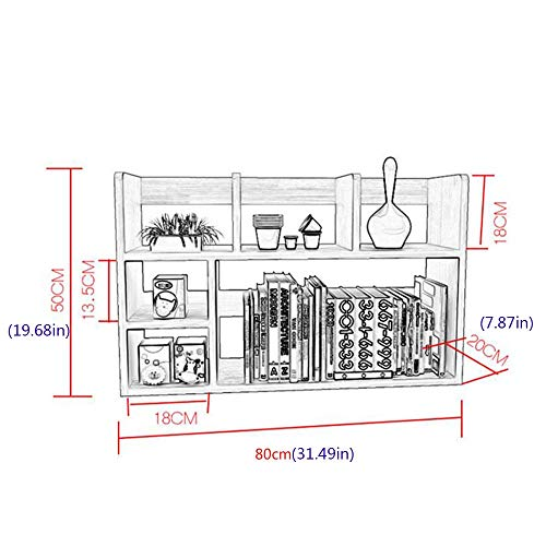Jcnfa-Shelves Desktop Bookcase DVD Blu-ray Media Storage Desktop Organizer Industrial Bookcase Office Study Simple Assembly (Color : Wood Color, Size : 31.497.8719.68in)