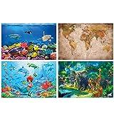 GREAT ART Juego de 4 pósteres XXL con motivos infantiles – Mar & Animales – Reef Acuario Retro Mapa del Mundo Sirenita Animales Decoración Interior de la pared póster 140 x 100 cm