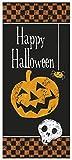 Unique Party 47468 - Plastic Chequered Halloween Door Poster, 5ft x 2.5ft
