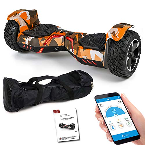 Smartway Balance Scooter 8,5 Zoll 800 W - SUV Ares GPX-04 mit App Funktion, Bluetooth Lautsprecher, Kinder Sicherheitsmodus, Elektro Self Balance Board E-Scooter Hover Wheel (camo/orange)