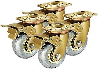 LYQQQQ Industriële Gold Heavy Duty Rubber Swivel Wielen Remwielen Meubelwagen Transportwiel 4 Stuks (Kleur: F, Maat: 4inc...