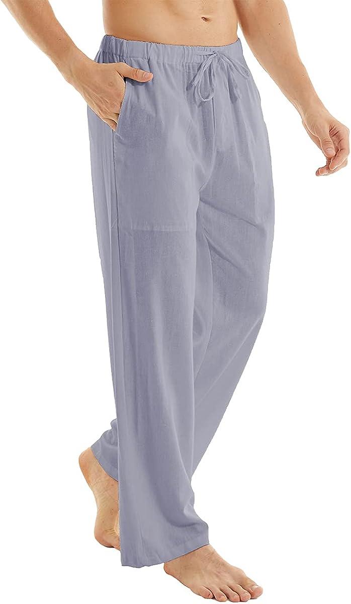 YuKaiChen Men's Casual Beach Pants Limited time cheap sale Loose Linen Drawstring Cotton Direct store