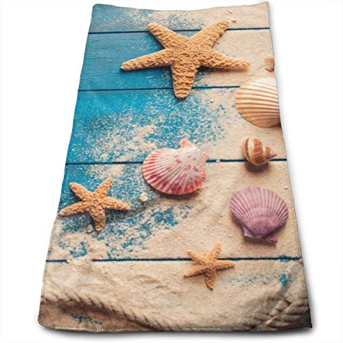 Sea Shells and Starfish On Blue Wooden Background Hand Towels for Bathroom 27.5'' X 12'' Soft Microfiber Towel Summer Beach Sand Small Bath Towels Kitchen Dish Towel