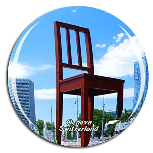 Weekino Svizzera Broken Chair Sculpture Ginevra Calamità da frigo 3D Cristallo Bicchiere Tourist City Viaggio Souvenir Collezione Regalo Forte Frigorifero Sticker