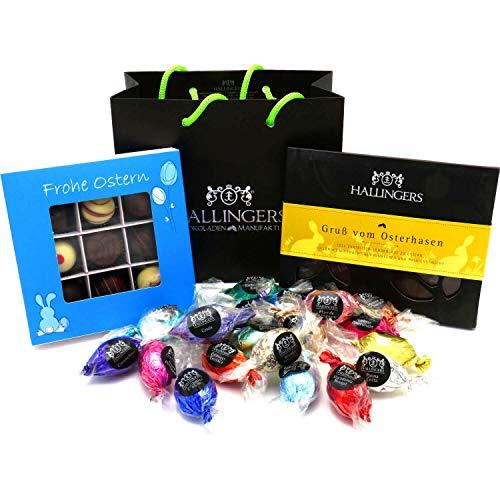 Hallingers Oster-Geschenk-Set 1 Schokolade, 9er Trüffel und 20 Ostereiern für Ostern (519g) - Easter Bag Blue Yellow (Genusstasche) - zu Ostern StayHome