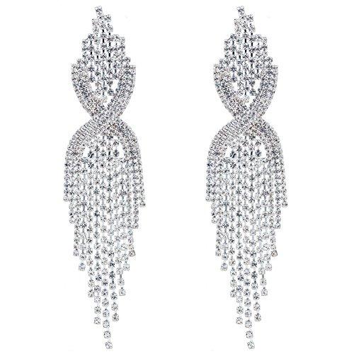 CHRAN Silver Rhinestone Long Tassels Dangle Chandelier Earrings Jewelry Size 3.5'