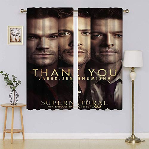 Supernatural TV Series Dean & Sam Winchester Poster Window Curtains Blackout Drapes, Panel&Sliding door insulated curtains Keep Warm Draperies, Sliding Door Drapes for Living Room W63' x L45'