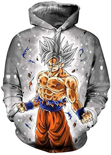 XHH Unisex Sudaderas Niño Niña Animado Sudaderas 3D Goku de Dragon Ball impresión Fresca con Capucha Divertidas Sudaderas Manga Larga con Capucha Jerseys for Mujeres de los Hombres, 1, M