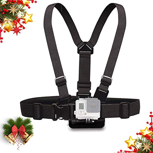 Mojosketch Chest Mount Harness Chesty Strap for Gopro Hero 8 7 6 5 4 3 3+ Session Black Silver Fusion and Sjcam with J-Hook - Fully Adjustable Strap Size Elastic Action Camera Body Belt Harness