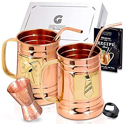 Magnificent Moscow Mule Copper Mugs: Make Any Drink Taste Much Better! 100% Pure Solid Copper His & Hers Gift Set- 2 Hammered 16 OZ Copper Caps 2 Unique Straws, Jigger & Recipe Book!
