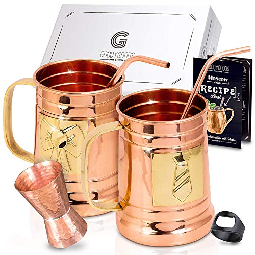 Magnificent Moscow Mule Copper Mugs: Make Any Drink Taste Much Bettter! 100% Pure Solid Copper His & Hers Gift Set- 2 Hammered 18 OZ Copper Caps 2 Unique Straws, Jigger & Recipe Book! (copper, 18oz)