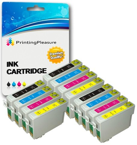 Printing Pleasure, cartucce d'inchiostro compatibili con Epson Stylus S20, S21, SX100, SX105, SX110, SX115, SX200, SX205, SX209, SX210, SX215, SX218, SX400, SX405, SX410, SX415, SX510W, SX515W, SX600FW, SX610FW, D78, D92, D120, DX400, DX4000, DX4050, DX4400, DX4450, DX5000, DX5050, DX6000, DX6050, DX7000, DX7400, DX7450, DX8400, DX8450, DX9200, DX9400F, DX9450, Stylus Office B40W, B300F, BX310FN, BX600FW, BX610FW, T0711, T0712, T0713, T0714(T0715), colore: nero; confezione da 4 pezzi 3 SETS