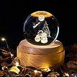 3D LED Weihnachtsmann Elch Schneemann Kristallkugel Holz leuchtende Basis Weihnachten Tischlampe...