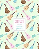 2021 Weekly Planner: Ukulele Pink Mint Green Pattern, Weekly and Monthly Standard Professional Calendar | 1 January 2021 - 31 December 2021