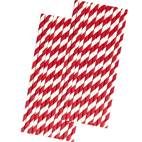 Stripe Paper Straws - Red and White - 7.75 Inches - 50 Pack - Outside the Box Papers Brand