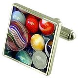 Select Gifts Jugando canicas de color plata esterlina gemelos cuadro grabado opcional