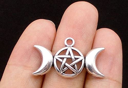 Super beauty product restock Seattle Mall quality top 40pcs Triple Moon Charms Goddess Magic 30x Wiccan Dome Pendants