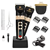 PettingPal Dog Grooming Clippers Professional Heavy Duty 2 in 1 Shaver with Small Trimmer Blade Quiet Rechargeable Cordless Electric Hair Cutting Kit for Dogs Cats Pets