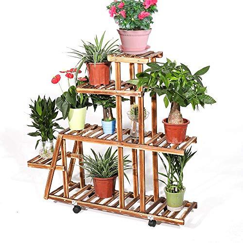unho Pflanzentreppe mit Rollen, 5 Ebenen Pflanzenregal Holz mehrstöckig, Blumenregal Blumenständer für Balkon Innen Dekor, 88 × 25 × 98 cm