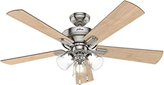 Hunter Indoor Ceiling Fan, with pull chain control - Crestfield 52 inch, Brushed Nickel, 54206