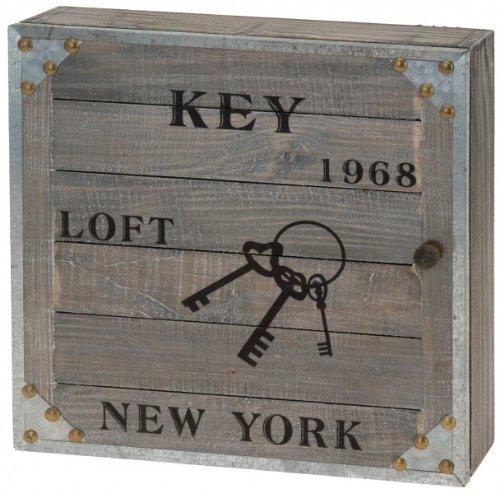 Quantio Schlüsselkasten New York 1968 - mit 6 Haken - Kasten für Schlüssel - Schlüsselbrett