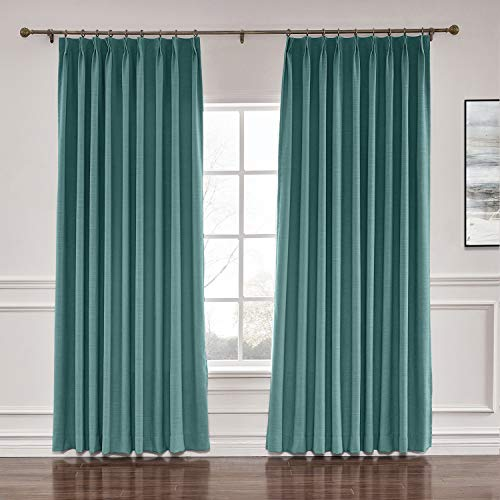"ChadMade 84"" W x 84"" L Polyester Linen Drapes with Blackout Lining Pinch Pleat Curtain for Sliding Door Patio Door Living Room Bedroom, Everglade Teal (1 Panel)"