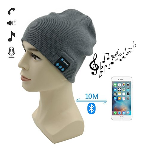 Heartte Wireless Bluetooth Headphone Music Audio Hat Cap with Speaker & Mic Hands Free for Outdoor Sport, Compatible with iPhone 6s/6,Plus,Samsung and Other Smart Phones (Grey YS-BTMH-H02)