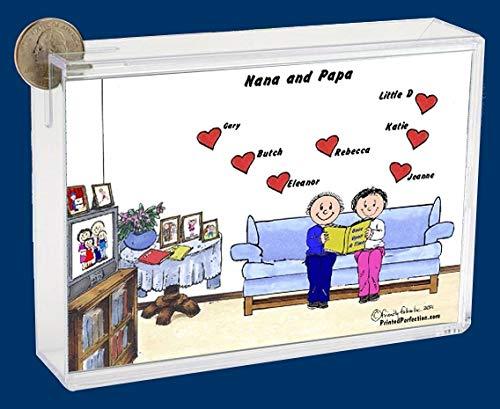 Personalized Friendly Folks Cartoon Caricature Bank: Grandma & Grandpa, Granparents – 7 Hearts
