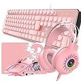 Rosa Teclado Mouse Combo Set 104 teclas Teclado para juegos con retroiluminación LED + 2400 dpi Ratón óptico + Auriculares Rainbow Light+Alfombrilla para mouse para PC portátil