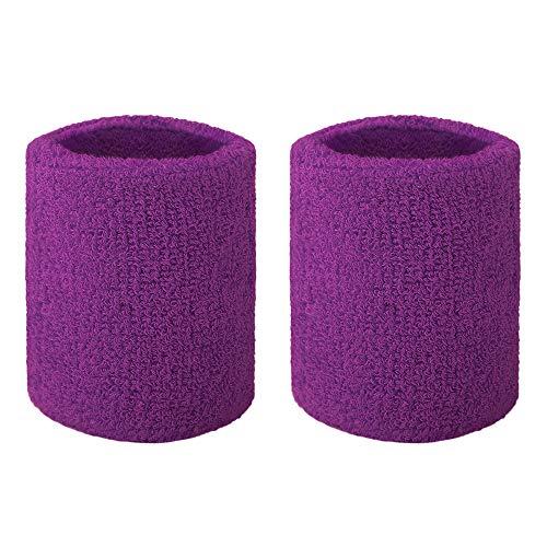 GOGO Bandeau de Poignet en Tissu éponge Couleurs variées Purple 2PCS