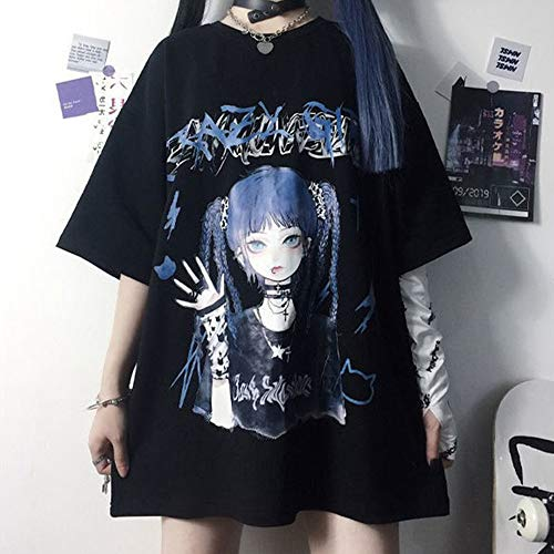 Noir Harajuku T-Shirts Goth Y2K O Cou Imprimé T-Shirt Surdimensionné Punk Streetwear Grunge À Manches Courtes Été Hauts Longs S Noir