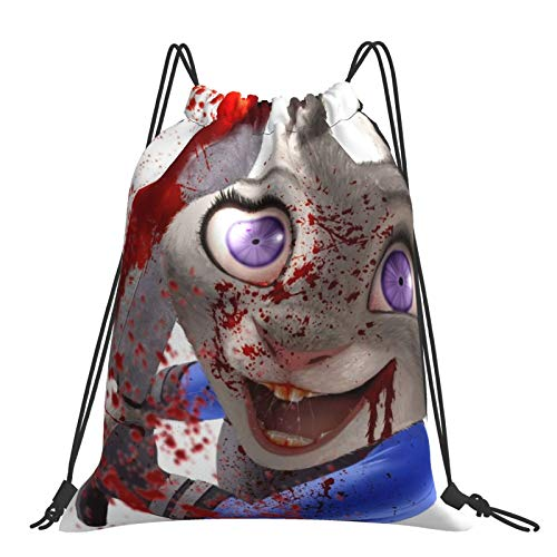 Crazy An-imal City Cottontail Rabbit Sack Drawstring Backpack Outdoor Portable Backpacks Large Capacity School Bag Canvas Sports Swimming Travel Beach Unisex Rucksack