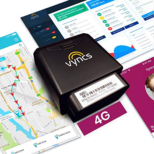 VyncsPro GPS Tracker 4G No Monthly Fee OBD Car Tracker Real Time GPS 1 Year Data Plan Included 60 Seconds GPS, Live Map, Teen Unsafe Driving Alert, Car Health, Recall, Fuel Report (Grey)