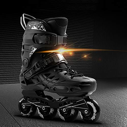 mfw@wewe Outdoor Inline Skates Adults Black Sports Fitness Professional Single Row Skates Comfortable Breathable Roller Skates For Women And Men (Color : BLACK, Size : 39 EU/7 US/6 UK/24.5CM JP)