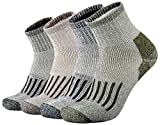 ONKE Men's Merino Wool Moisture Wicking Control Thermal Outdoor Hiking Heavy Cushion Low Cut Socks 4 Pack(MixColor1 XL)