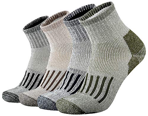 ONKE Men's Merino Wool Moisture Wicking Control Thermal Outdoor Hiking Heavy Cushion Low Cut Socks 4 Pack(MixColor1 L)