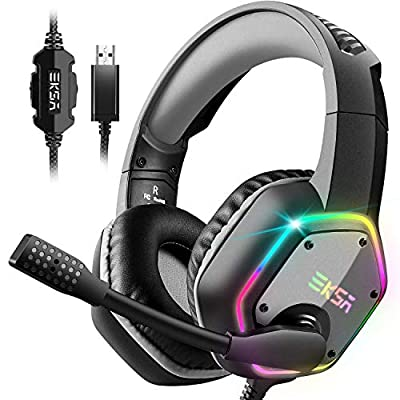 EKSA USB Gaming Headset PC Headset with 7.1 Surround Sound Headset with Noise Cancelling Mic, RGB Light Headphones for PC, PS4 PS5 Console, Laptop, Mac from EKSA