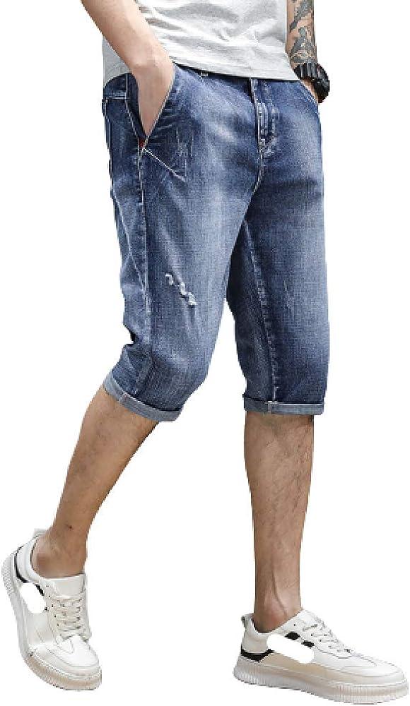 nobranded Men's Denim Shorts Summer Thin Section Seven Points Solid Color Stretch
