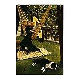 ZNNHEROLienzo Pintura Al Óleo James Tissot La Hamaca, 1879' Realismo Moda Dama Estética Arte De La Pared Decoración Interior del Hogar-60X90Cmx1 Sin Marco
