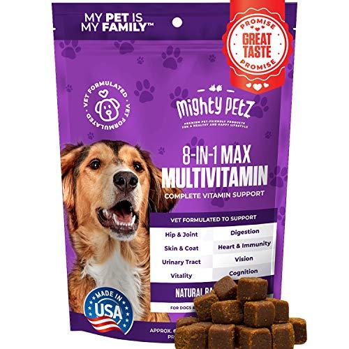 MAX Dog Multivitamin + Probiotics + Glucosamine Chondroitin + Fish Oil + 15 More! Adult & Senior Dog Supplement Vitamins Chews to Support Hip & Joint, Skin + Coat, Digestion & Immunity, Heart & Vision
