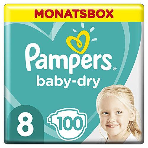 Pampers Baby-Dry Windeln, Gr. 8, 17+kg, Monatsbox (1 x 100 Windeln), bis zu 12 Stunden Rundum-Auslaufschutz