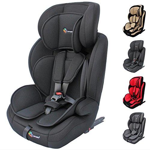 Clamaro 'Guardian Isofix' Kinderautositz 9-36 kg ISOFIX mitwachsend, Autokindersitz für Kinder ab 1-12 Jahre (Gruppe 1I,II,III), Isofix und TOP TETHER, ECE R44/04 Zulassung - Schwarz