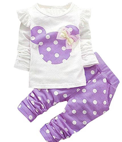 DaDa Deal Baby Girls' Toddler Kids Clothes Shirt Top Leggings Pants Outfits(60,Purple), 3-6 Months