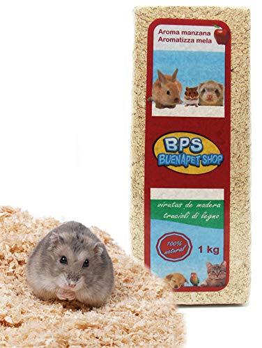 BPS Virutas de Madera Lecho Higienico para Mascotas Serrín para Gato Animales Pequeños Hámster Conejo Loro Ardilla Erizo Diferent Pack (1 Kg, Aromo Manzana) BPS-4052 🔥