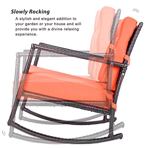 Merax Patio Chairs Outdoor Glider Rattan Rocker Chair Wicker Rocking Chairs with Orange Cushions for Porch Garden Lawn Deck